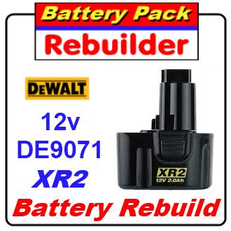 Dewalt 12v DE9071 XR2 battery rebuild / recell / replacement