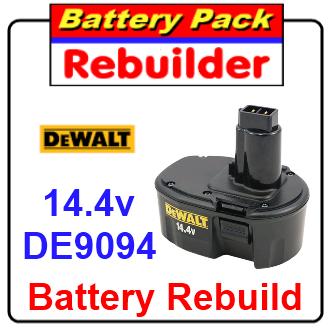 Dewalt 14.4v DE9094 Battery rebuild / recell / replacement