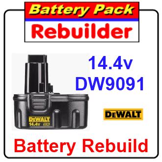 Dewalt 14.4v DW9091 battery rebuild / recell / replacement
