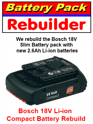 bosch 18 volt li ion battery pack rebuilder. Black Bedroom Furniture Sets. Home Design Ideas